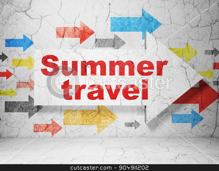 Vacation concept: arrow with Summer Travel on grunge wall background stock photo, Vacation concept:  arrow with Summer Travel on grunge textured concrete wall background by mkabakov