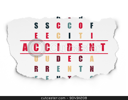Insurance concept: Accident in Crossword Puzzle stock photo, Insurance concept: Painted red word Accident in solving Crossword Puzzle on Torn Paper background by mkabakov