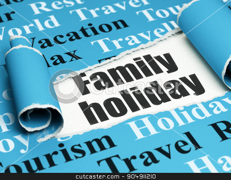 Vacation concept: black text Family Holiday under the piece of  torn paper stock photo, Vacation concept: black text Family Holiday under the curled piece of Blue torn paper with  Tag Cloud by mkabakov