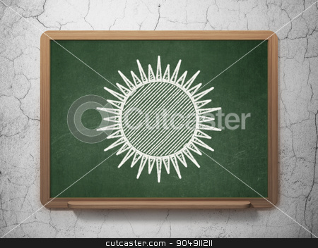 Vacation concept: Sun on chalkboard background stock photo, Vacation concept: Sun icon on Green chalkboard on grunge wall background by mkabakov