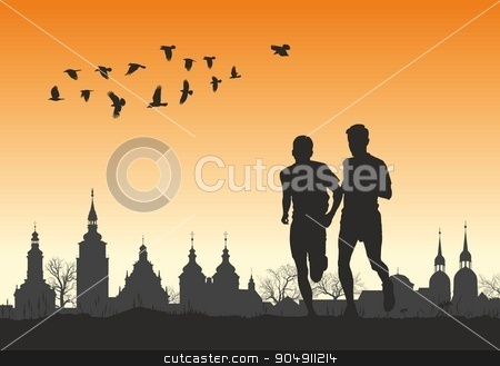 Two runners on the horizon for city stock vector clipart, vector illustration two silhouettes of runners on the background of the historic city by Čerešňák