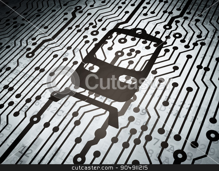 Tourism concept: circuit board with Train stock photo, Tourism concept: circuit board with  Train icon, 3d render by mkabakov