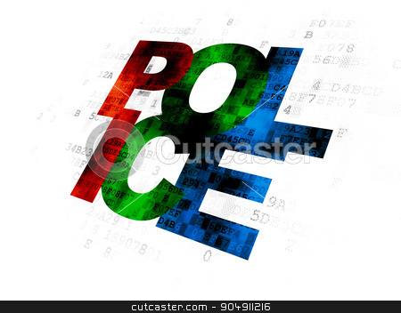 Law concept: Police on Digital background stock photo, Law concept: Pixelated multicolor text Police on Digital background by mkabakov
