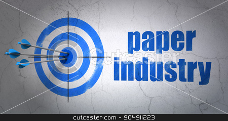 Industry concept: target and Paper Industry on wall background stock photo, Success Industry concept: arrows hitting the center of target, Blue Paper Industry on wall background by mkabakov