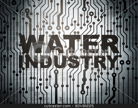 Industry concept: circuit board with Water Industry stock photo, Industry concept: circuit board with  word Water Industry, 3d render by mkabakov