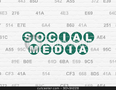 Social network concept: Social Media on wall background stock photo, Social network concept: Painted green text Social Media on White Brick wall background with Hexadecimal Code by mkabakov