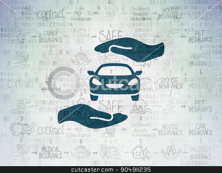 Insurance concept: Car And Palm on Digital Paper background stock photo, Insurance concept: Painted blue Car And Palm icon on Digital Paper background with Scheme Of Hand Drawn Insurance Icons by mkabakov