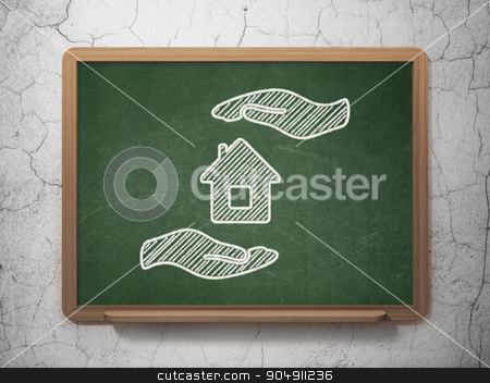 Insurance concept: House And Palm on chalkboard background stock photo, Insurance concept: House And Palm icon on Green chalkboard on grunge wall background by mkabakov