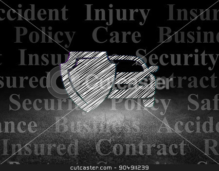 Insurance concept: Car And Shield in grunge dark room stock photo, Insurance concept: Glowing Car And Shield icon in grunge dark room with Dirty Floor, black background with  Tag Cloud by mkabakov