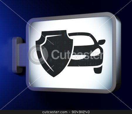 Insurance concept: Car And Shield on billboard background stock photo, Insurance concept: Car And Shield on advertising billboard background, 3d render by mkabakov