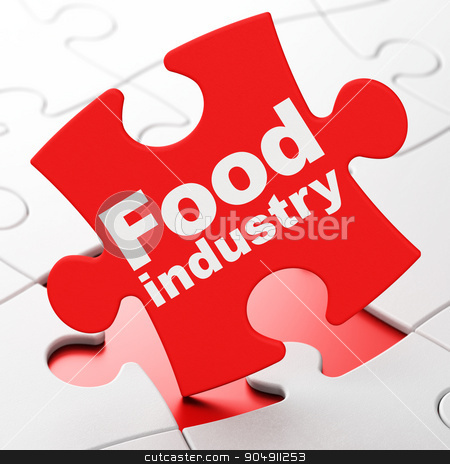 Manufacuring concept: Food Industry on puzzle background stock photo, Manufacuring concept: Food Industry on Red puzzle pieces background, 3d render by mkabakov