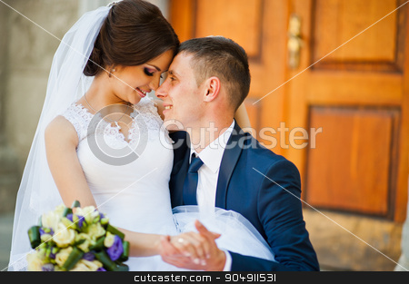 Close up portrait of wedding couple stock photo, Close up portrait of wedding couple by Andrii Shevchuk