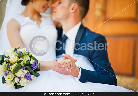 Close up portrait of wedding couple stock photo, Close up portrait of wedding couple by Andrii Shevchuk