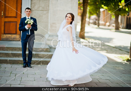 Dance with dress bride background her groom stock photo, Dance with dress bride background her groom by Andrii Shevchuk