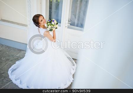 Portrait of beautiful cute brunette bride stock photo, Portrait of beautiful cute brunette bride by Andrii Shevchuk