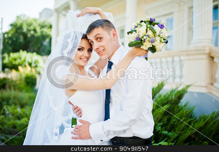 Wedding couple stay near antique vintage house stock photo, Wedding couple stay near antique vintage house by Andrii Shevchuk
