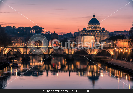 Rome, Italy: St. Peter's Basilica and Saint Angelo Bridge stock photo, Rome, Italy: St. Peter's Basilica, Saint Angelo Bridge and Tiber River in the beautiful sunset of Italian winter by krivinis