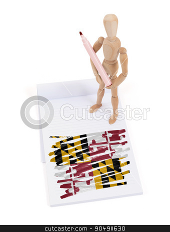 Wooden mannequin made a drawing - Maryland stock photo, Wooden mannequin made a drawing of a flag - Maryland by michaklootwijk
