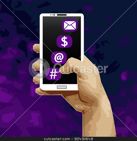 White smart phone in his hand. Working with applications on your smartphone. Hand holding a smartphone stock vector clipart, White smart phone in his hand. Working with applications on your smartphone. Hand holding a smartphone by Vladimir Khapaev