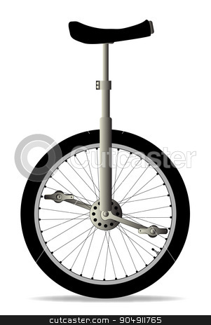 Unicycle On White stock vector clipart, A unicycle isolated over a white background by Kotto