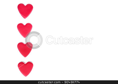 Four red hearts  stock photo, Four red hearts isolated on white  by alekleks