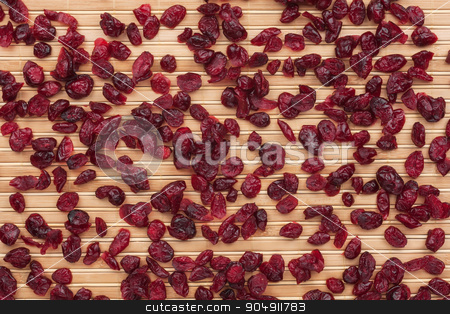 Cranberries on the bamboo mat stock photo, Cranberries on the bamboo mat, can be used as background by alekleks