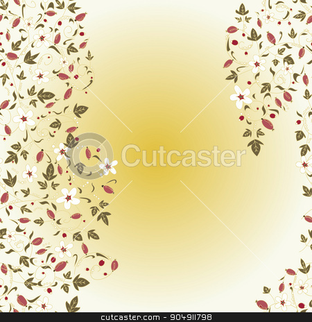 barberry pattern. seamless floral texture with berries stock vector clipart, barberry pattern. seamless floral texture with berries by LittleCuckoo