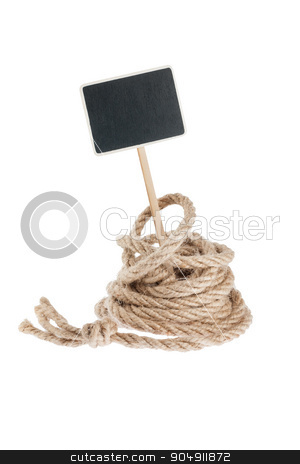 Rope with a pointer for your text stock photo, Rope with a pointer for your text,  isolated on white background by alekleks