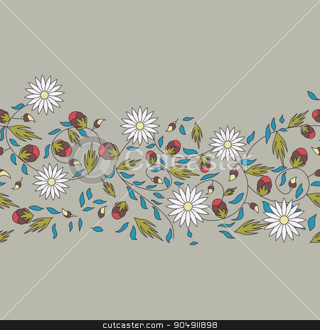 sunflower flower seamless background stock vector clipart, sunflower flower seamless background by LittleCuckoo