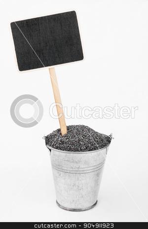 Pointer, price in bucket of  poppy seeds stock photo, Pointer, price in bucket of  poppy seeds, on a white background by alekleks