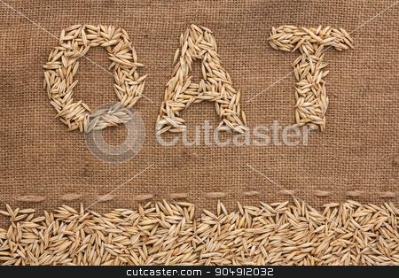Word oat  written on burlap  stock photo, Word oat  written on burlap , background  by alekleks
