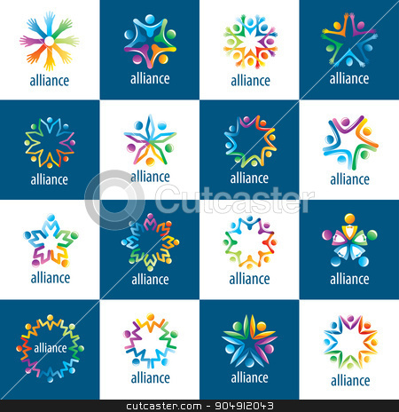 set of logos union people stock vector clipart, set of abstract vector logos union of people in the form of stars by Aleksey Butenkov