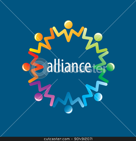 Human Alliance logo stock vector clipart, Abstract vector logo union of people in the form of stars by Aleksey Butenkov