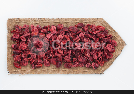 Pointer of  burlap with dried  cranberry  stock photo, Pointer of  burlap with dried  cranberry , on a white background by alekleks