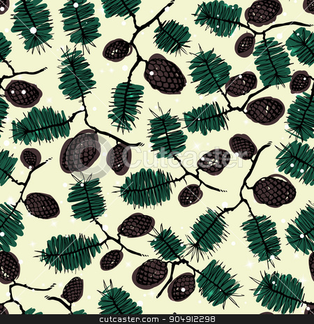fir pine pattern. christmass tree cones seamless vector illustration stock vector clipart, fir pine pattern. christmass tree cones seamless vector illustration by LittleCuckoo
