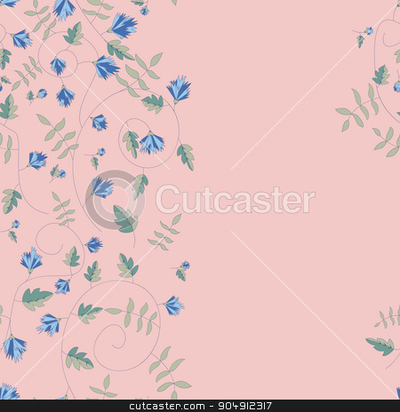 Cornflower pattern. Vector seamless texture stock vector clipart, Cornflower pattern. Vector seamless texture by LittleCuckoo