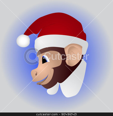 New year a cute monkey stock vector clipart, New year a cute monkey. Two thousand sixteen by evgeniyborey