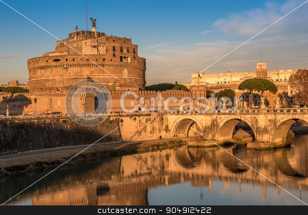 Rome, Italy: Mausoleum of Hadrian or Castle of the Holy Angel stock photo, Rome, Italy: the Mausoleum of Hadrian or Castle of the Holy Angel in the beautiful sunset of Italian winter by krivinis