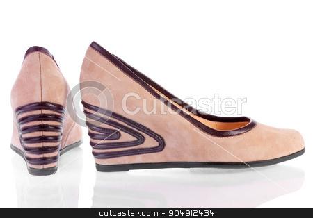Beige suede platform shoes stock photo, Beige suede platform shoes, isolated on white by alekleks