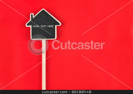 Pointer house with space for your text  stock photo, Pointer house with space for your text lies on red  background by alekleks