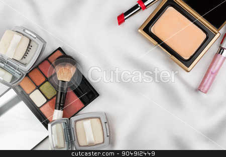 Beautiful picture of cosmetic  on  white  satin stock photo, Beautiful picture of cosmetic  on  white  satin, with space for your text by alekleks