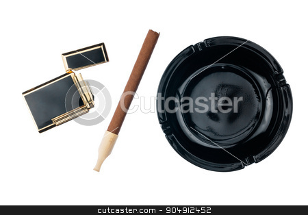 Ashtray with cigar and gold cigarette lighter stock photo, Ashtray with cigar and gold cigarette lighter, isolated on white background by alekleks