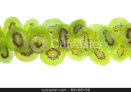 line of  dried  kiwi stock photo, line of  dried  kiwi, isolated on white background by alekleks