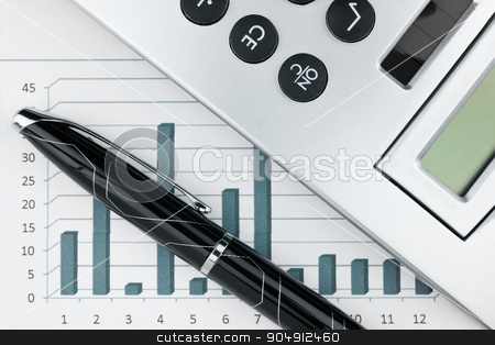 Extreme closeup of a fountain pen and charts  stock photo, Bar chart with pen and calculator, numbers by alekleks