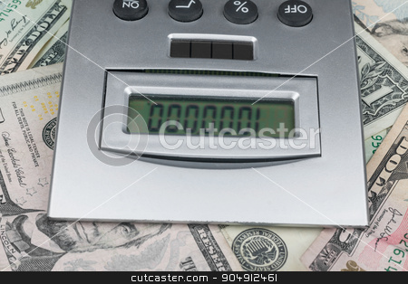 Calculator and money stock photo, Calculator and money, can be used as background by alekleks