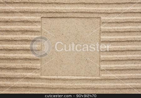 Embossed square in the sand stock photo, Embossed square in the sand, can be used as background by alekleks