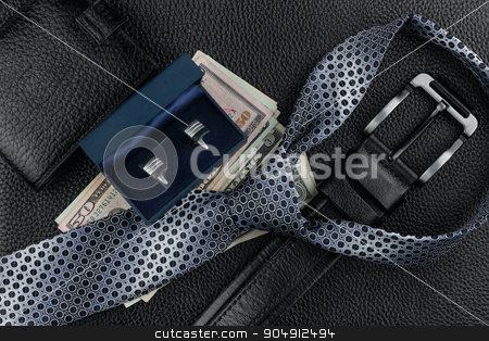 Tie, belt, wallet, cufflinks, money lying on the skin stock photo, Tie, belt, wallet, cufflinks, money lying on the skin, can be used as background by alekleks