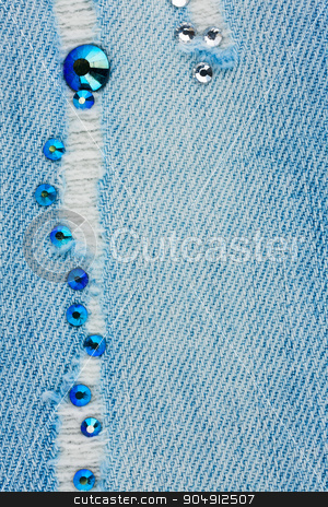Light blue ripped jeans with rhinestones stock photo, Light blue ripped jeans with rhinestones, with space for your text by alekleks