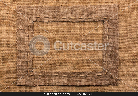 Frame of burlap, lies on a background of burlap stock photo, Frame of burlap, lies on a background of burlap,can be used as texture by alekleks