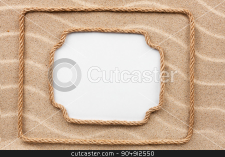 Two frame made of rope lying on the sand with a white background stock photo, Two frame made of rope lying on the sand with a white background, for your text, pictures, photos by alekleks